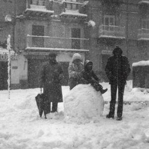 Piazza Margherita durante la nevicata del '62